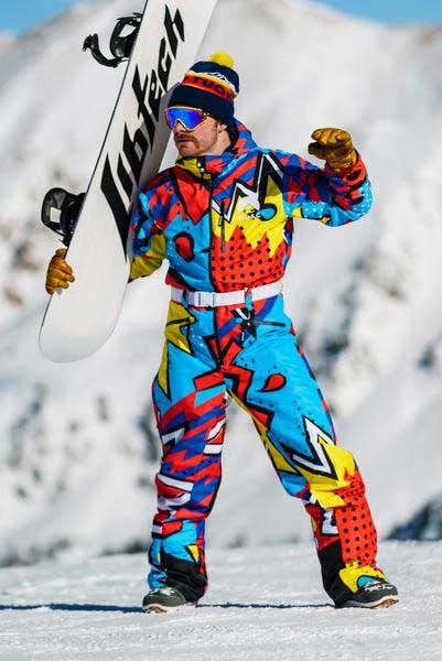 Man in colorful snowsuit