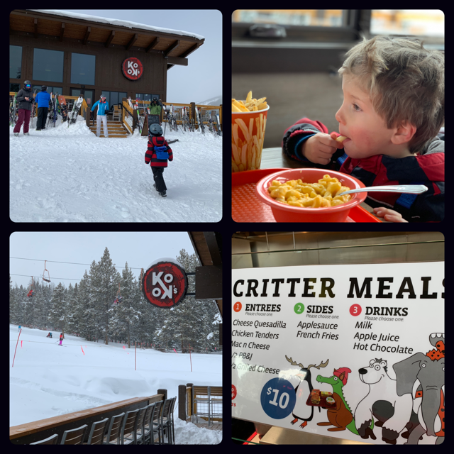The Blake family eats lunch at Koko's Hut, located at the top of the Kokomo Express at Copper Mountain