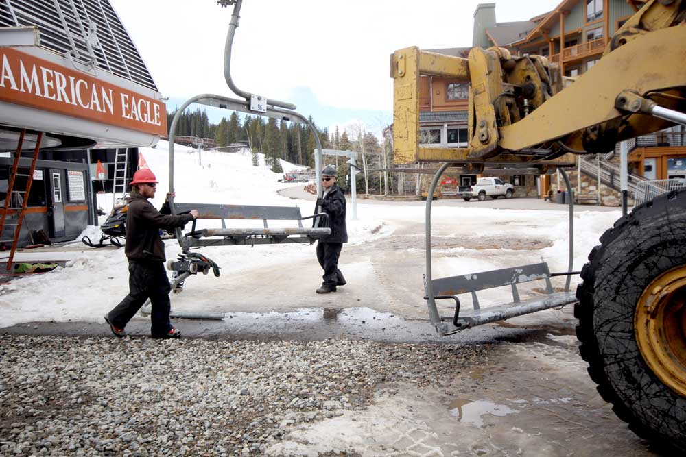 Two maintenance workers place a chair onto a forklift as part of the removal of the American Eagle chairlift at Copper Mountain