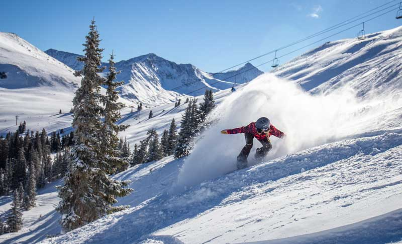 A snowboard rides through powder at Copper