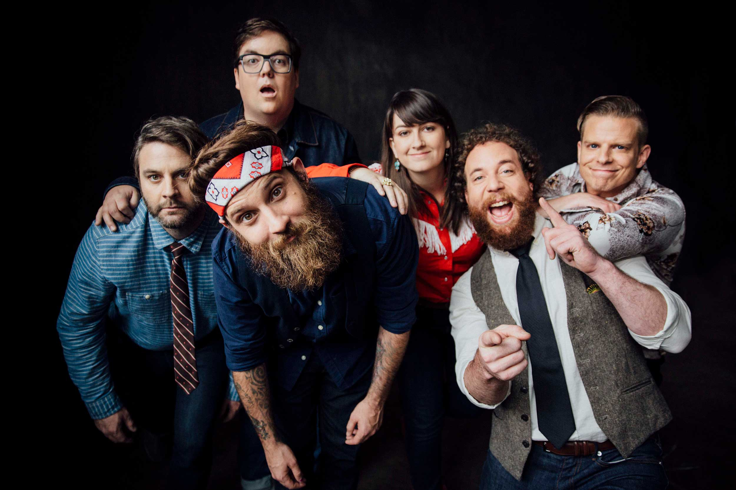 The band Strumbellas pose for photo